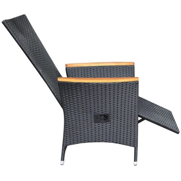 Reclining Garden Chairs 2 pcs with Cushions Poly Rattan Black 6