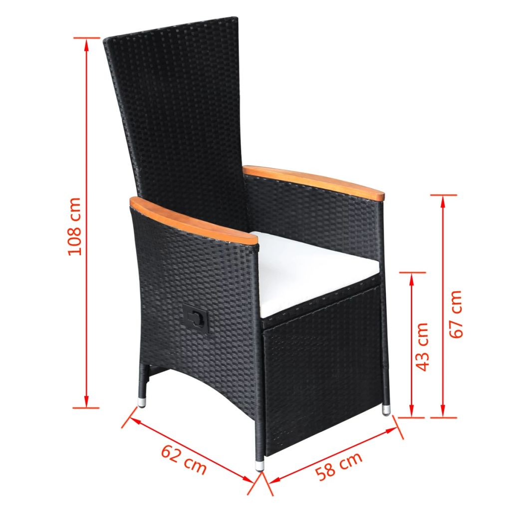 Reclining Garden Chairs 2 pcs with Cushions Poly Rattan Black 7