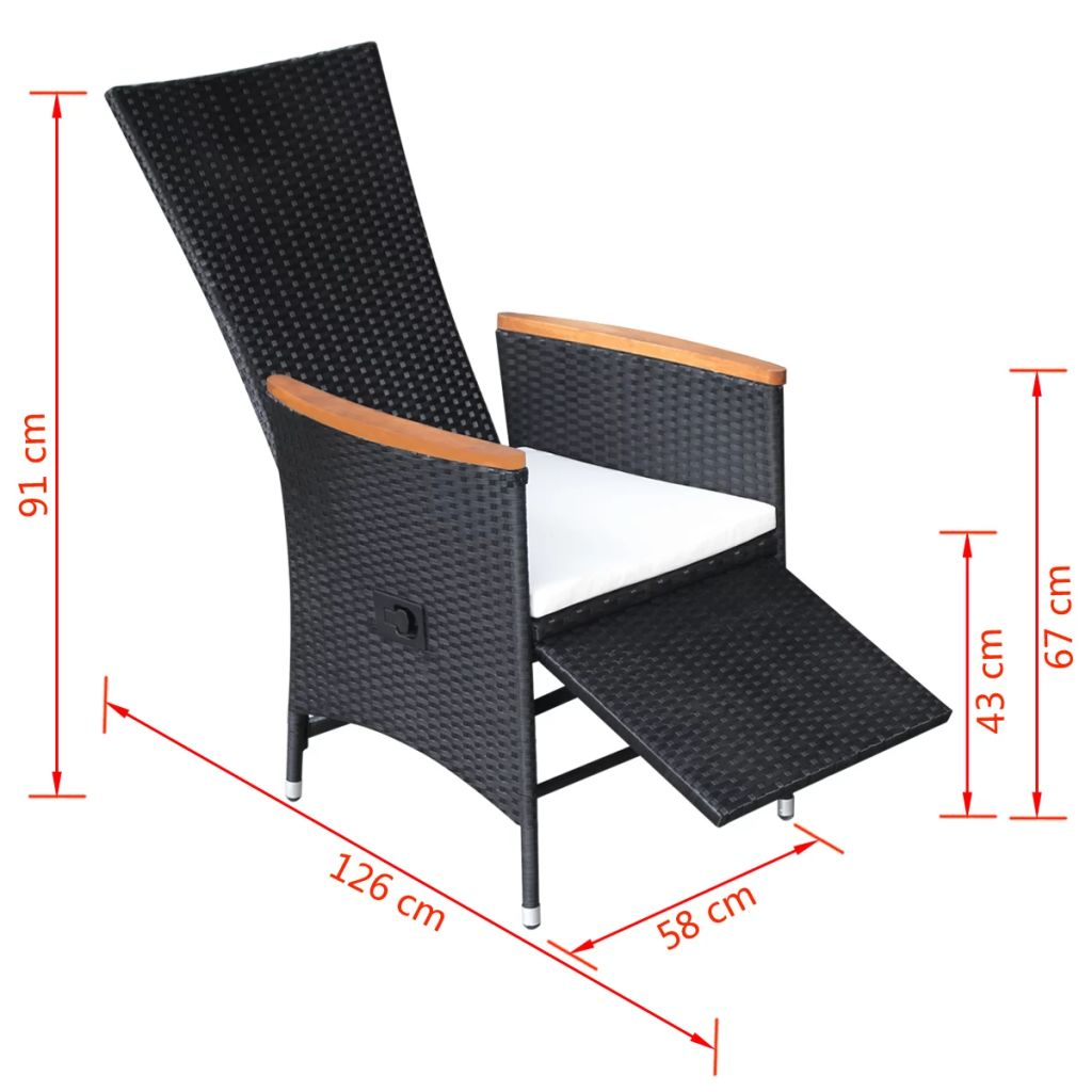 Reclining Garden Chairs 2 pcs with Cushions Poly Rattan Black 8