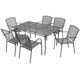 7 Piece Outdoor Dining Set Steel Anthracite 1
