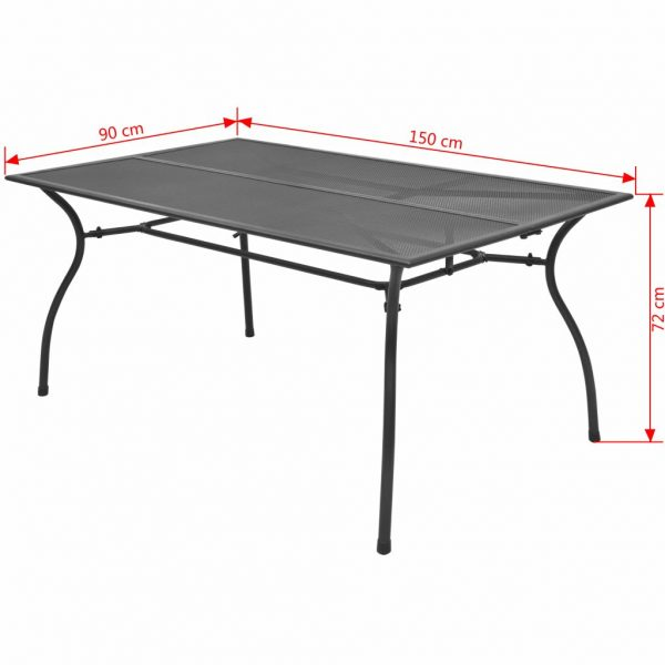 Garden Table 150x90x72 cm Steel Mesh 3