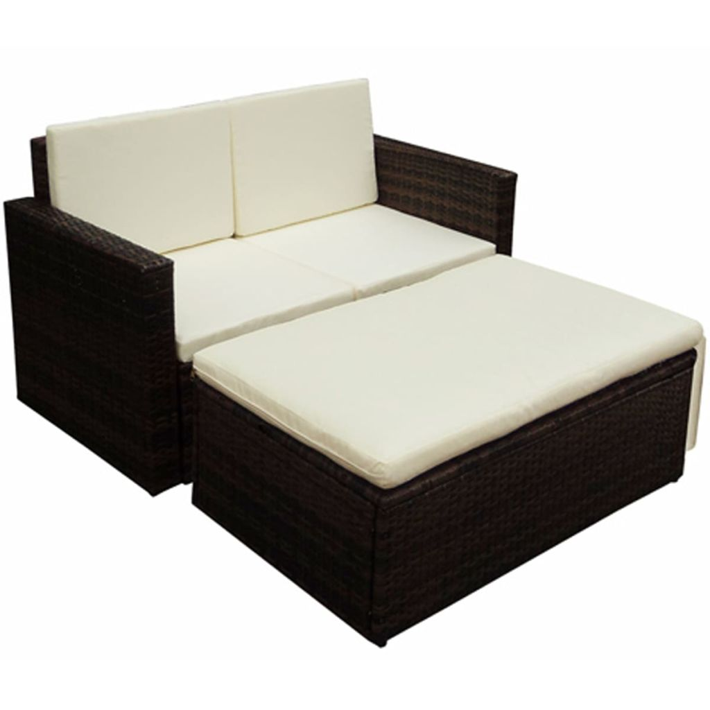 2 Piece Garden Lounge Set with Cushions Poly Rattan Brown 1