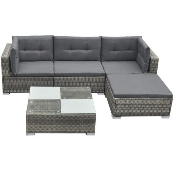 5 Piece Garden Lounge Set with Cushions Poly Rattan Grey 2