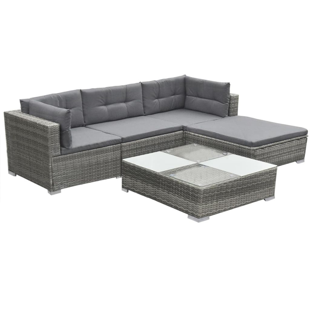 5 Piece Garden Lounge Set with Cushions Poly Rattan Grey 3