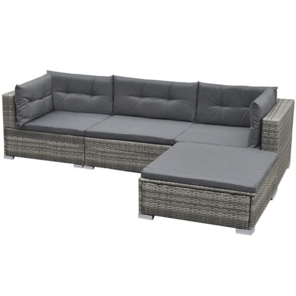 5 Piece Garden Lounge Set with Cushions Poly Rattan Grey 4