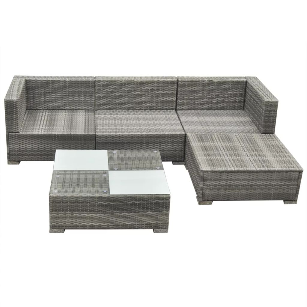 5 Piece Garden Lounge Set with Cushions Poly Rattan Grey 5