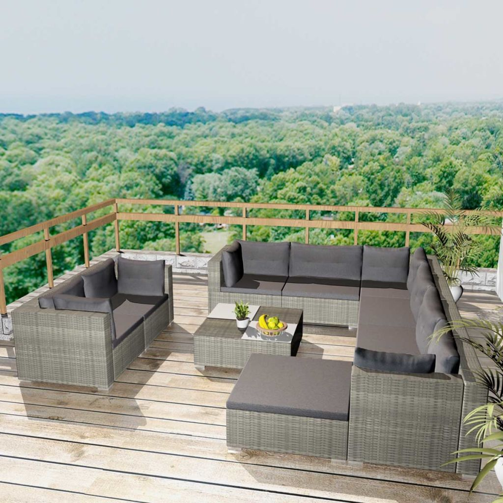10 Piece Garden Lounge Set with Cushions Poly Rattan Grey 1