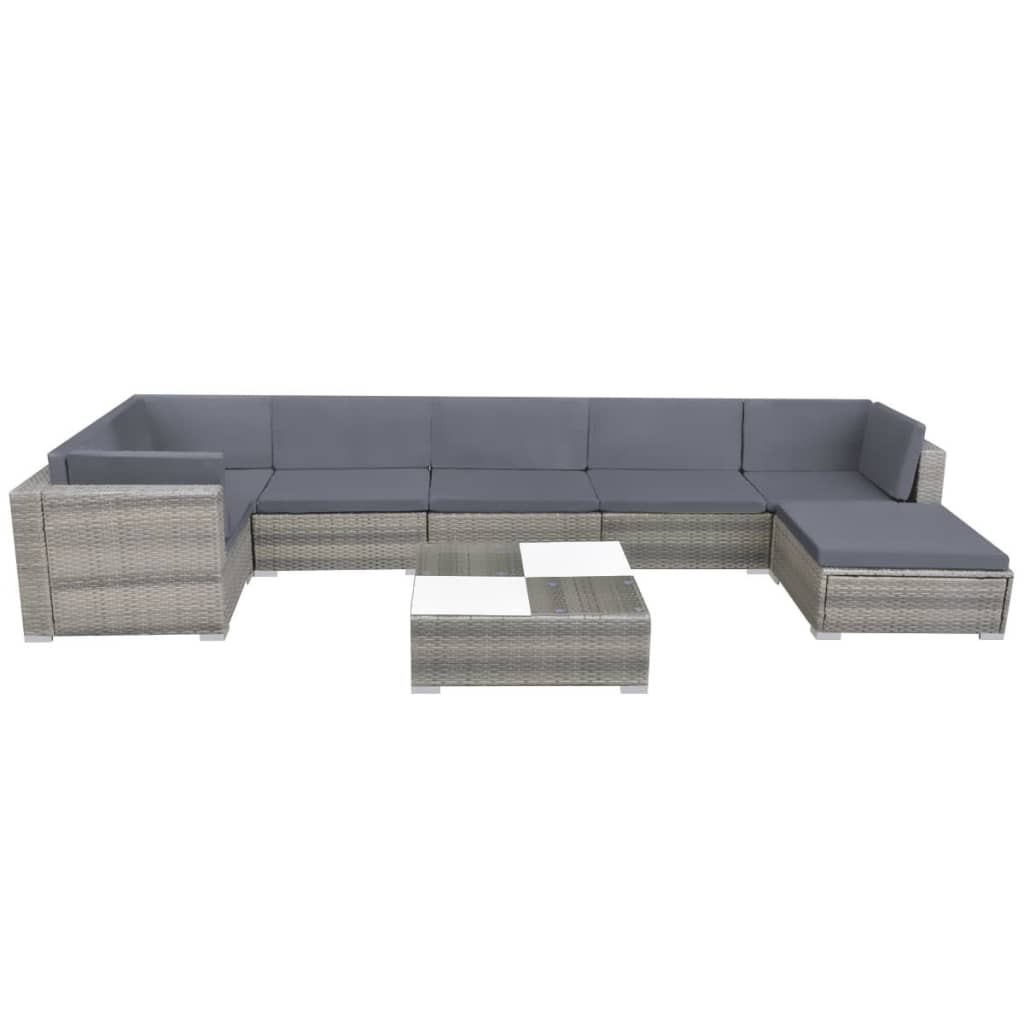 8 Piece Garden Lounge Set with Cushions Poly Rattan Grey 3