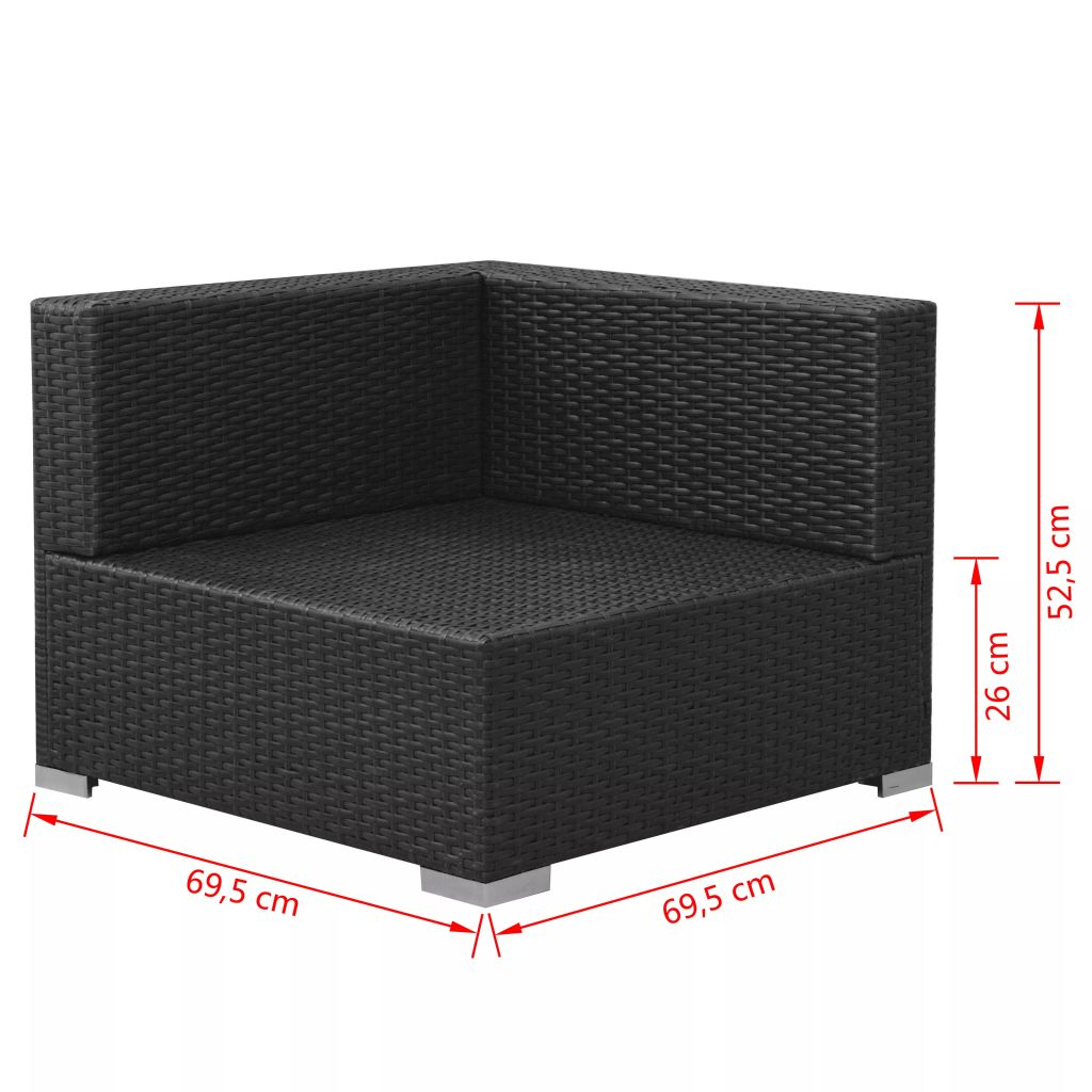 3 Piece Garden Lounge Set with Cushions Poly Rattan Black 8