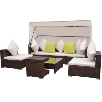 7 Piece Garden Lounge Set with Canopy Poly Rattan Brown 1
