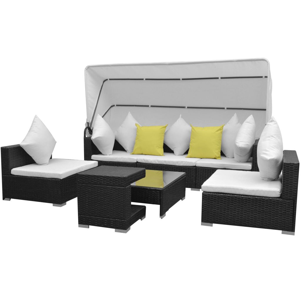 7 Piece Garden Lounge Set with Canopy Poly Rattan Black 1