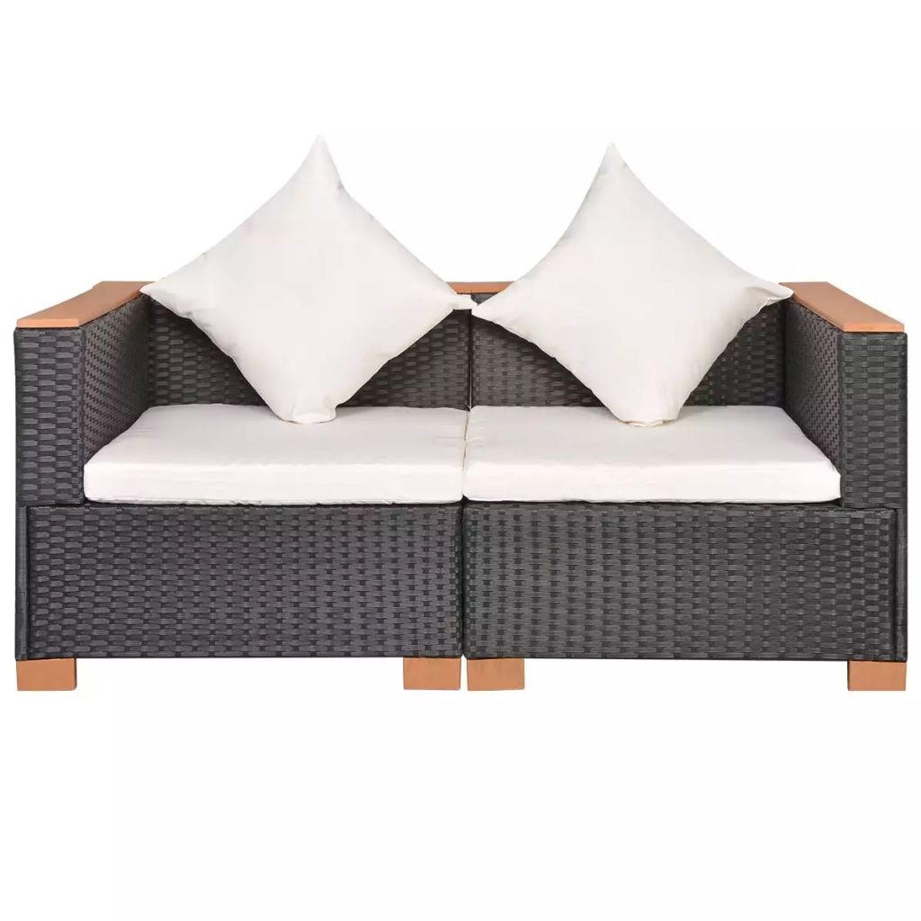 Garden Sofa Poly Rattan Black 2
