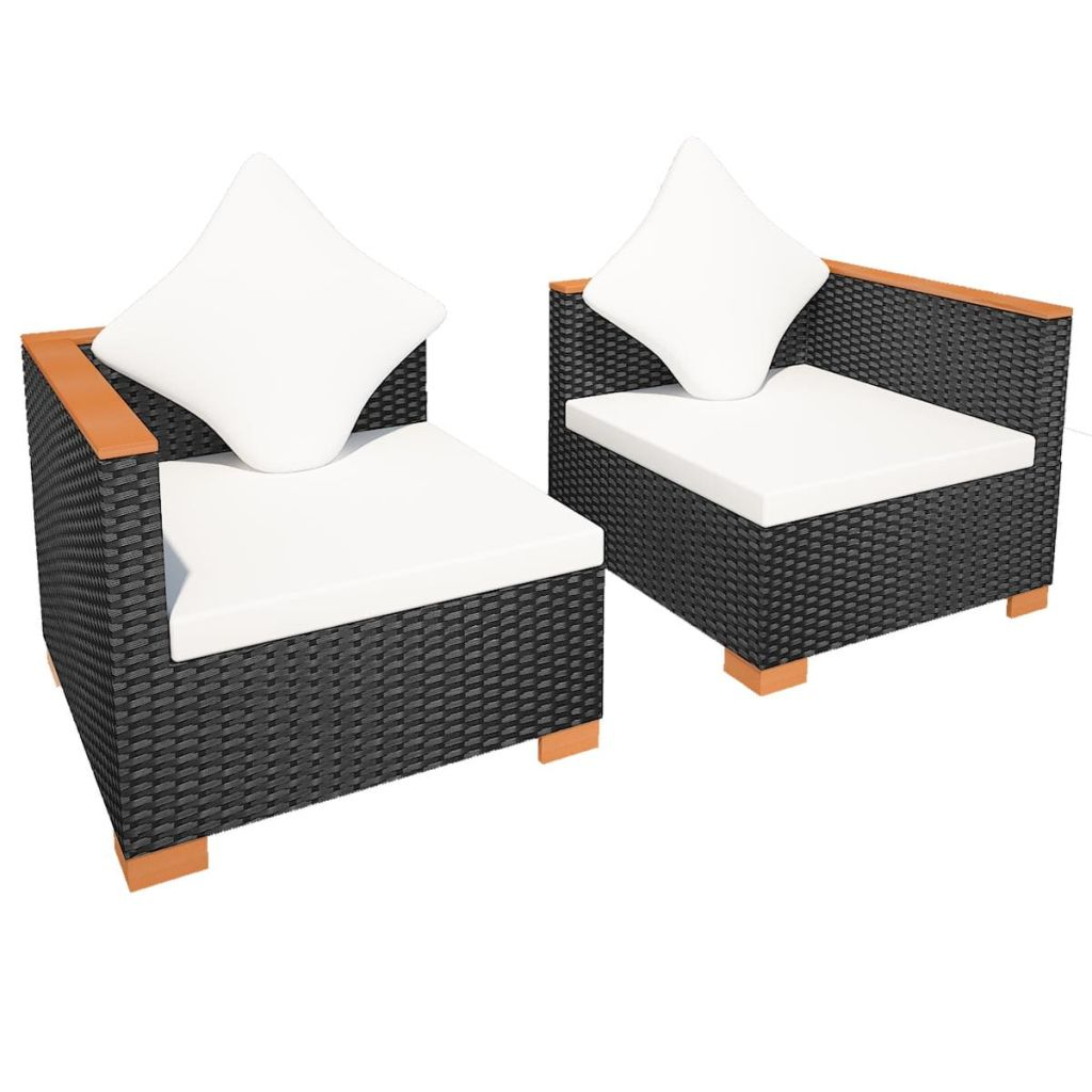 Garden Sofa Poly Rattan Black 5