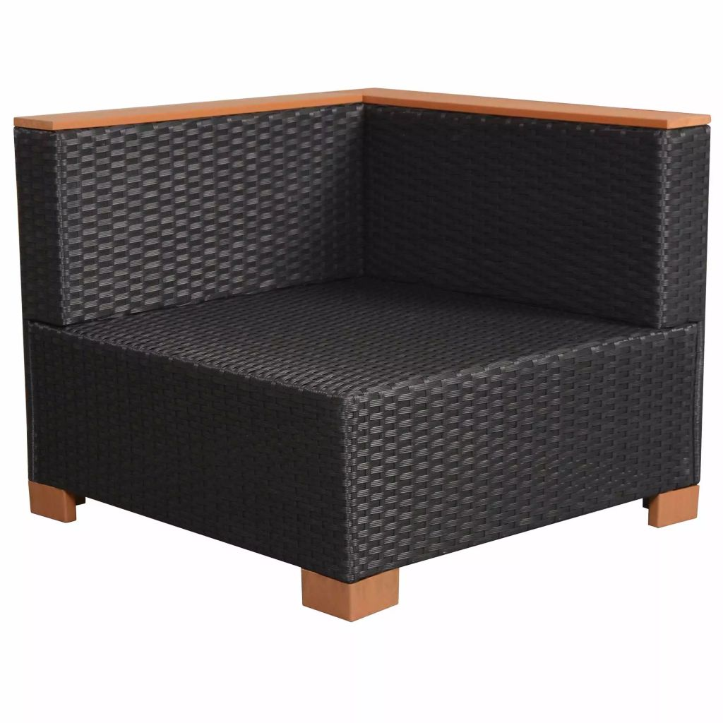 Garden Sofa Poly Rattan Black 7