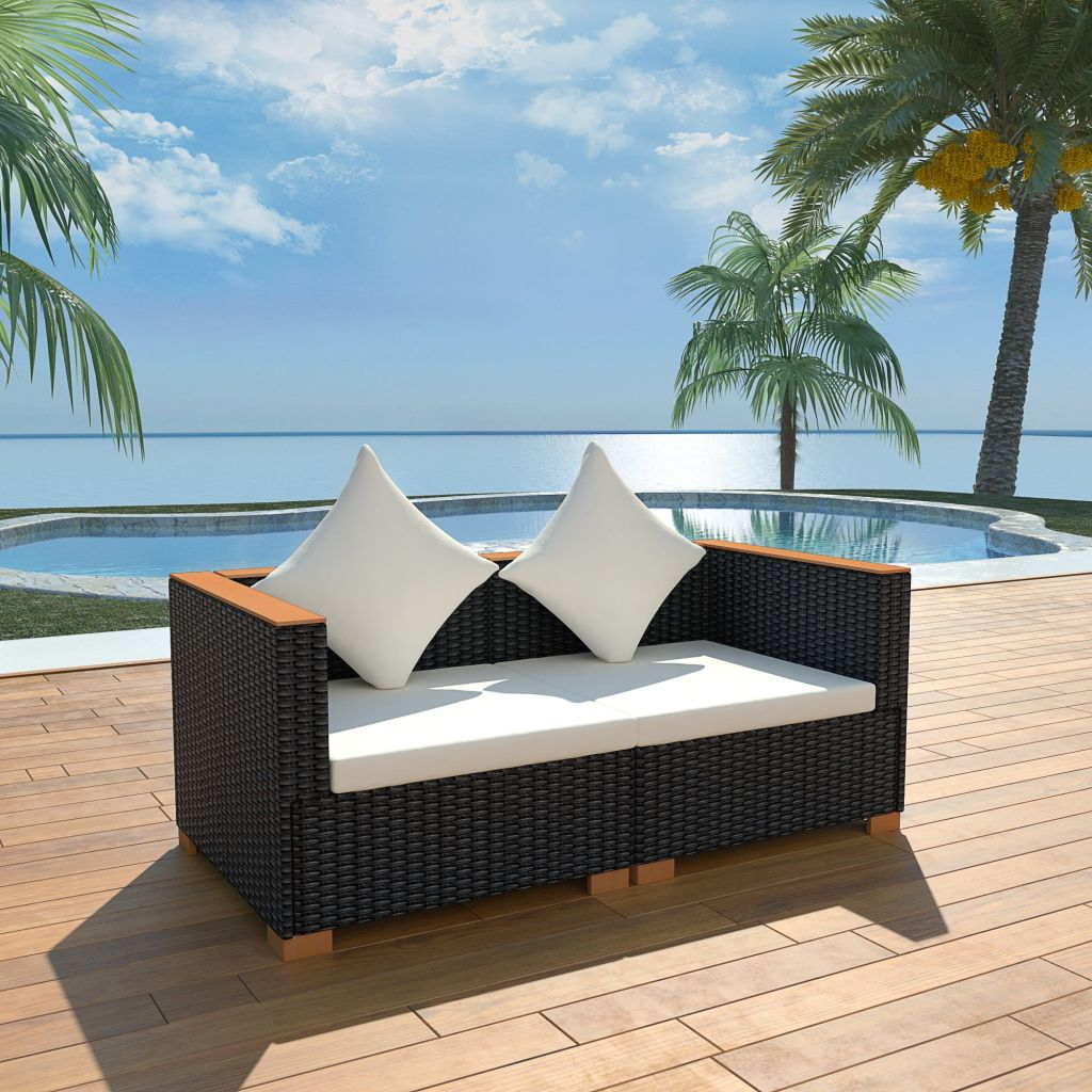 Garden Sofa Poly Rattan Black 1