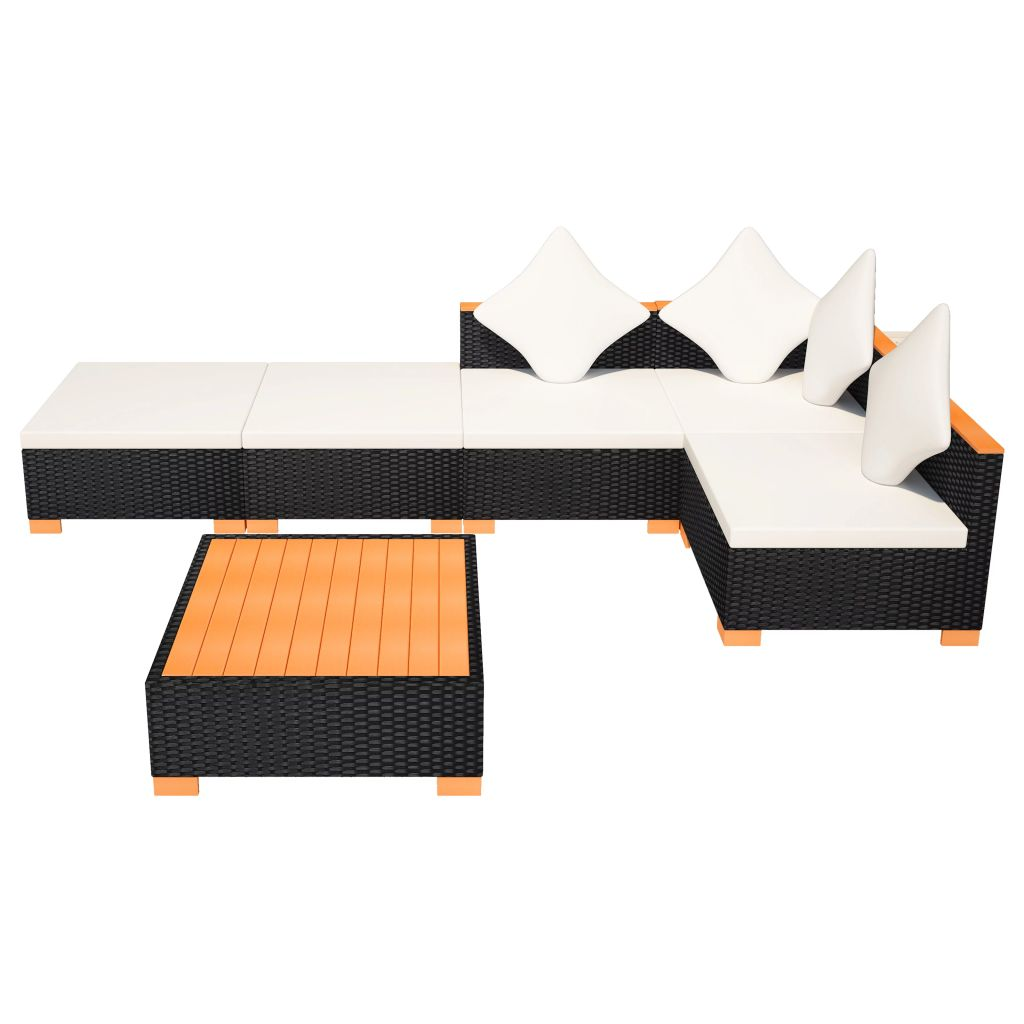 6 Piece Garden Lounge Set with Cushions Poly Rattan Black 6