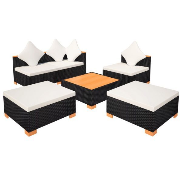 6 Piece Garden Lounge Set with Cushions Poly Rattan Black 7
