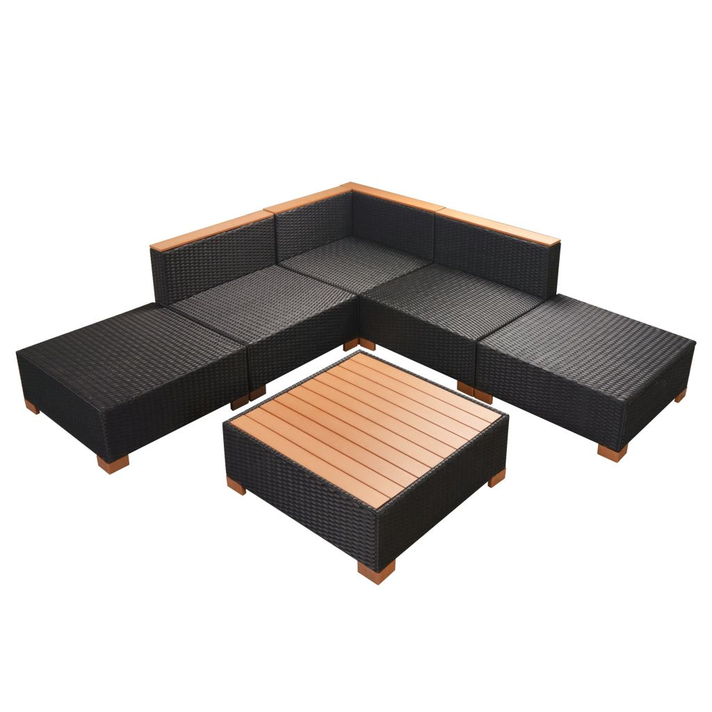 6 Piece Garden Lounge Set with Cushions Poly Rattan Black 9