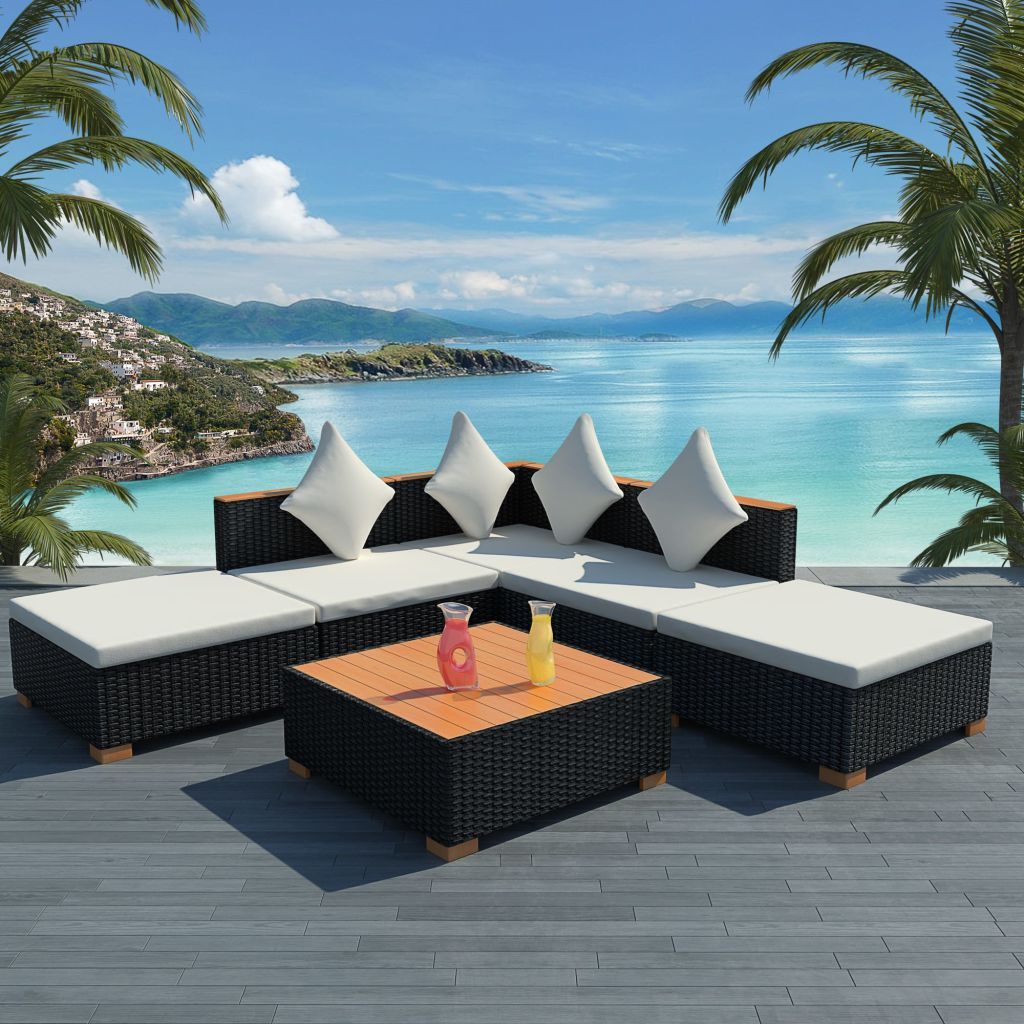 6 Piece Garden Lounge Set with Cushions Poly Rattan Black