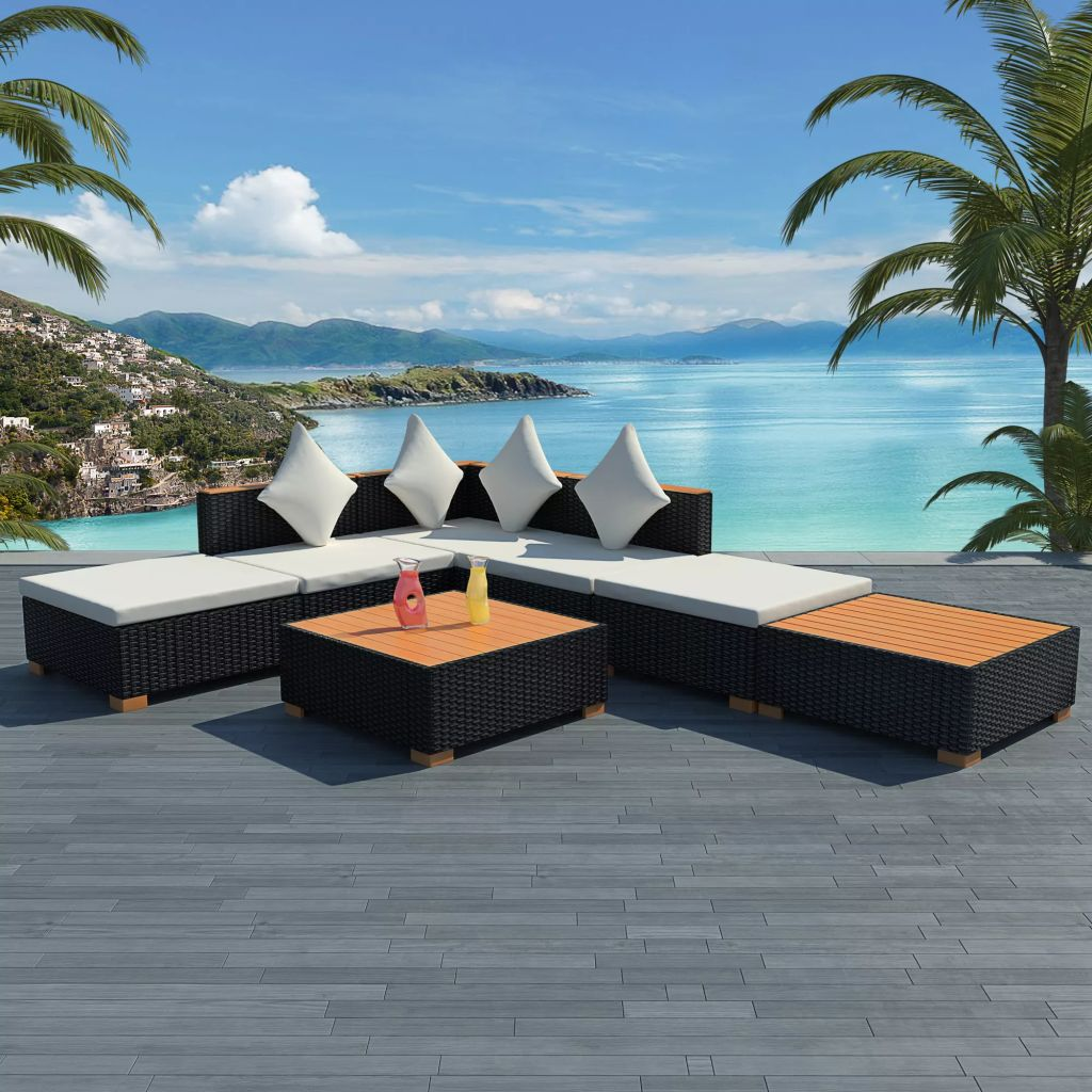 7 Piece Garden Lounge Set with Cushions Poly Rattan Black 1