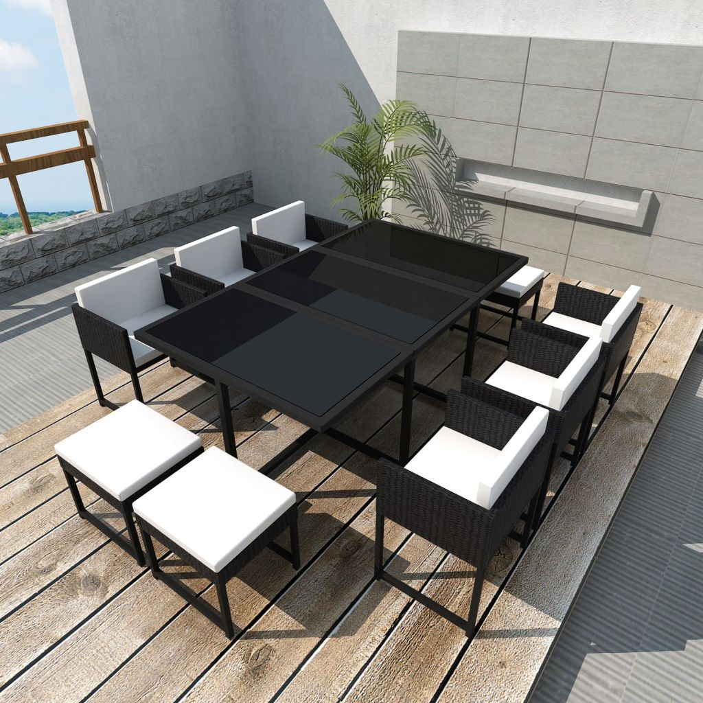 11 Piece Outdoor Dining Set with Cushions Poly Rattan Black 1