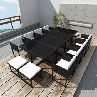 13 Piece Outdoor Dining Set with Cushions Poly Rattan Black 1