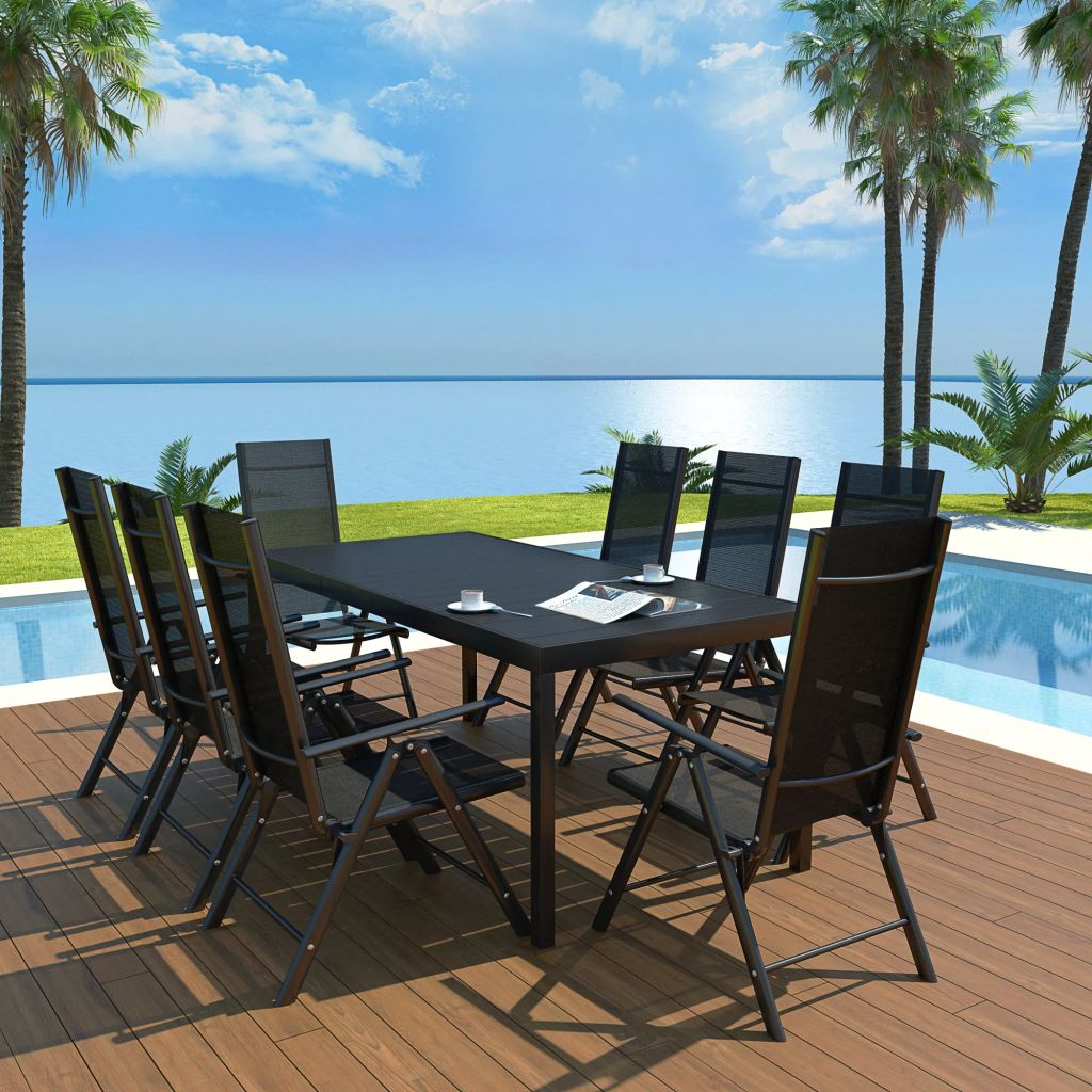 9 Piece Outdoor Dining Set Aluminium and WPC Black
