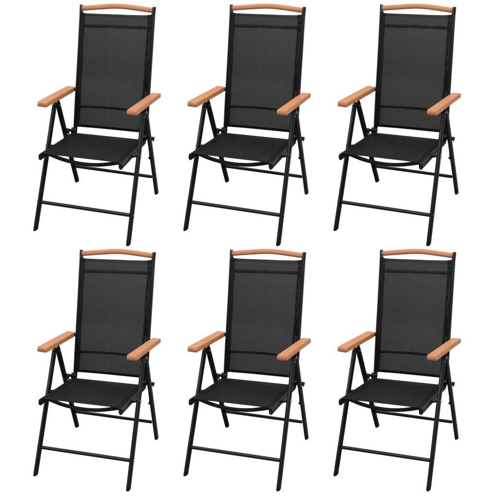 7 Piece Outdoor Dining Set with Folding Chairs Aluminium Black 4