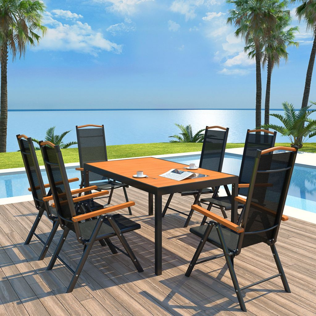 7 Piece Outdoor Dining Set with Folding Chairs Aluminium Black 1
