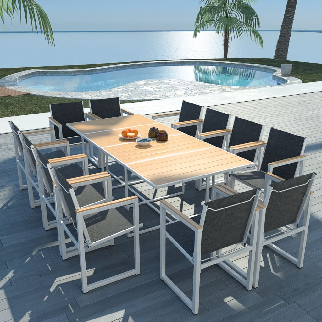 13 Piece Outdoor Dining Set with WPC Tabletop Aluminium 1