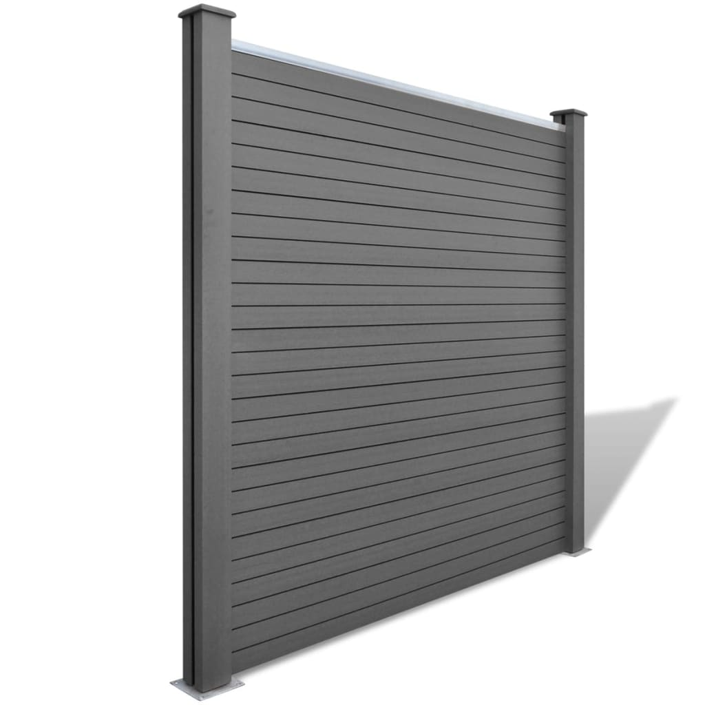 Fence Panel with 2 Posts WPC 185×185 cm Grey 3