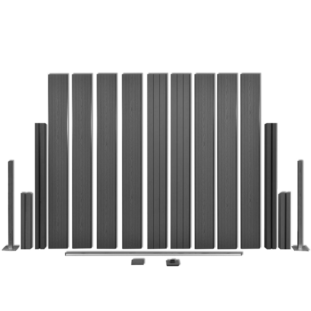 Fence Panel with 2 Posts WPC 185×185 cm Grey 5