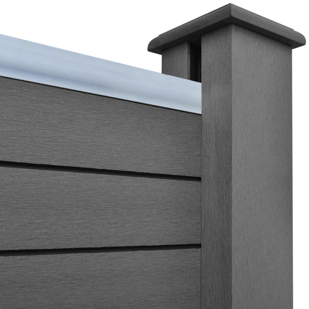 Fence Panel with 2 Posts WPC 185×185 cm Grey 6