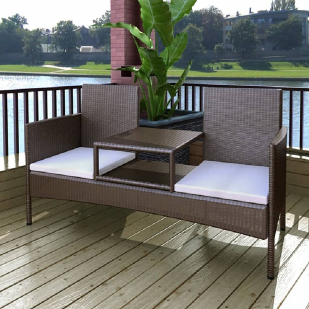 2-Seater Garden Sofa with Tea Table Poly Rattan Brown 1