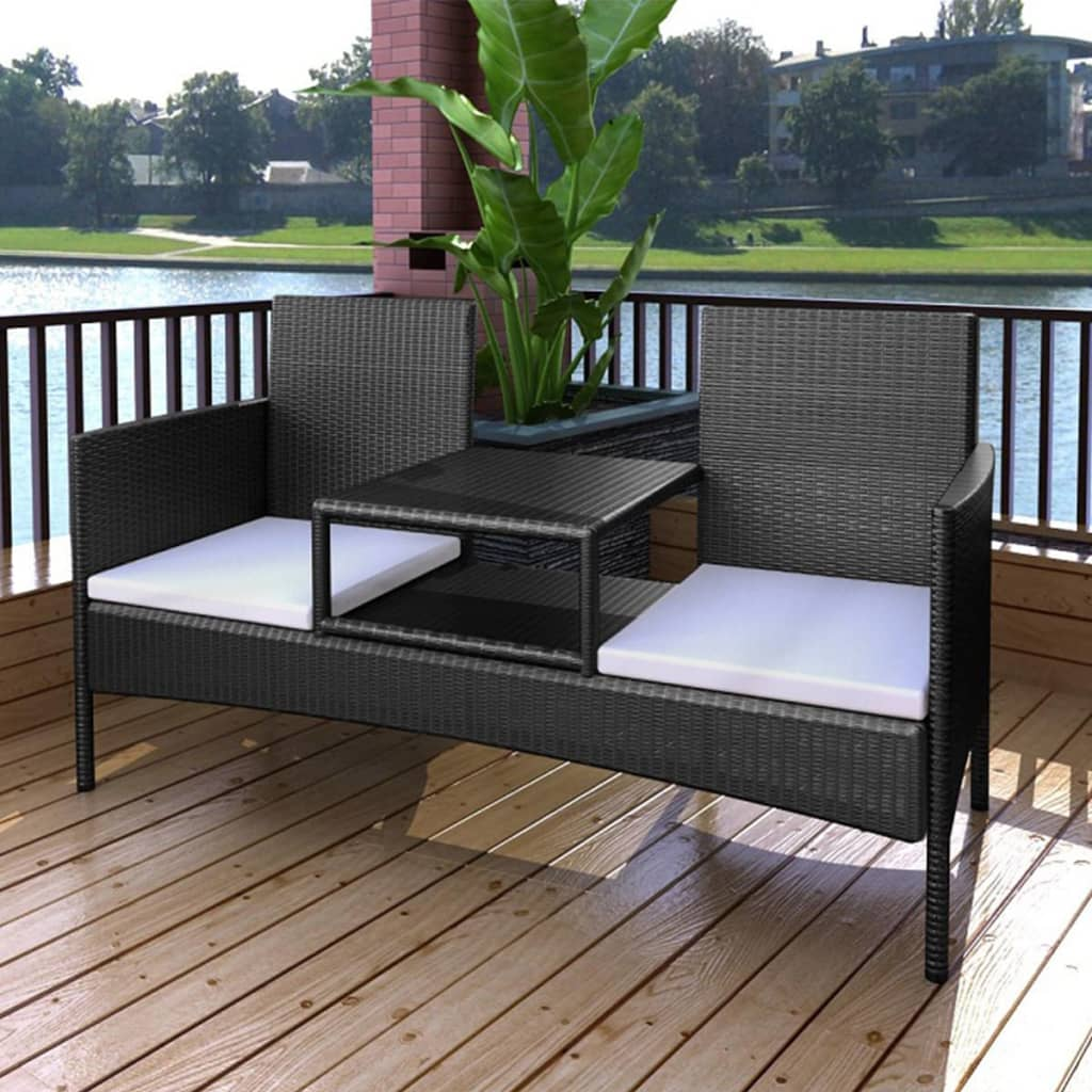 2-Seater Garden Sofa with Tea Table Poly Rattan Black 1