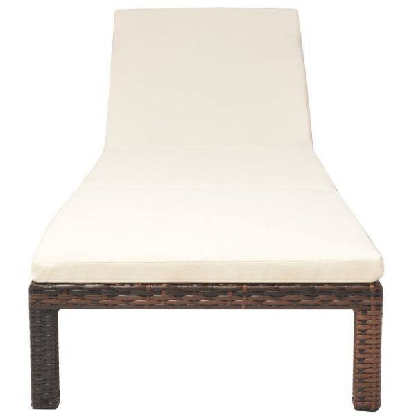 Sun Lounger with Cushion Poly Rattan Brown 3