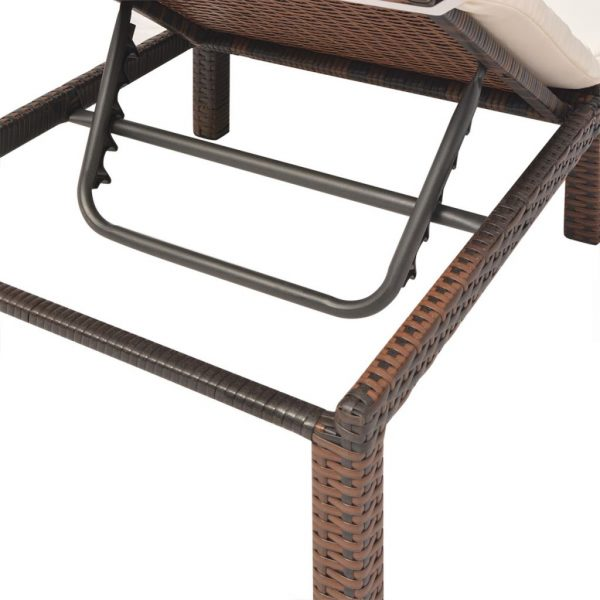 Sun Lounger with Cushion Poly Rattan Brown 8