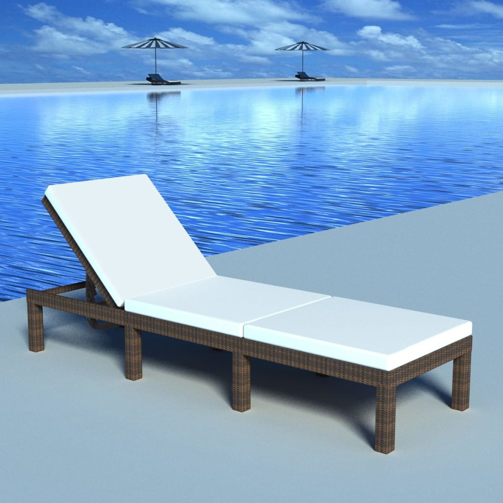 Sun Lounger with Cushion Poly Rattan Brown 1