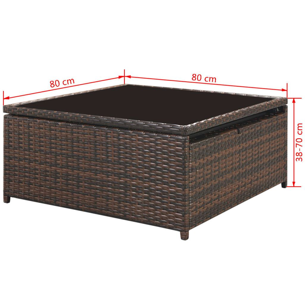 5 Piece Garden Lounge Set with Cushions Poly Rattan Brown 10