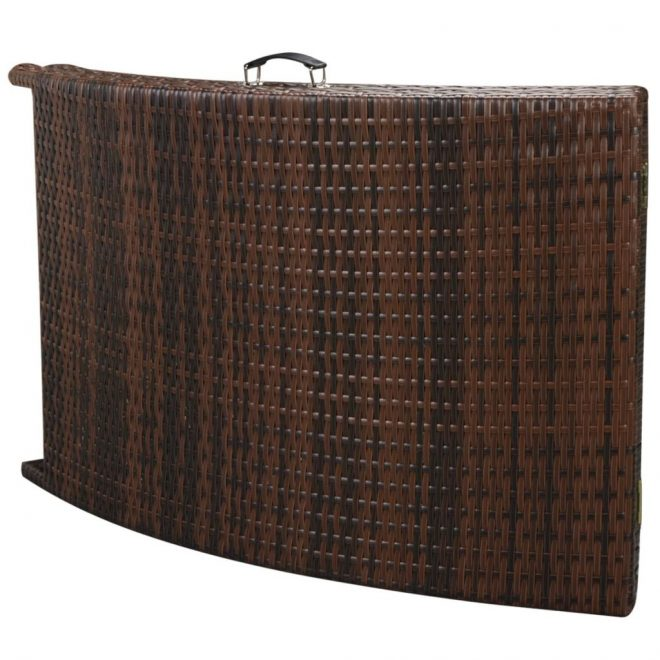 Folding Sun Lounger with Cushion Poly Rattan Brown 6