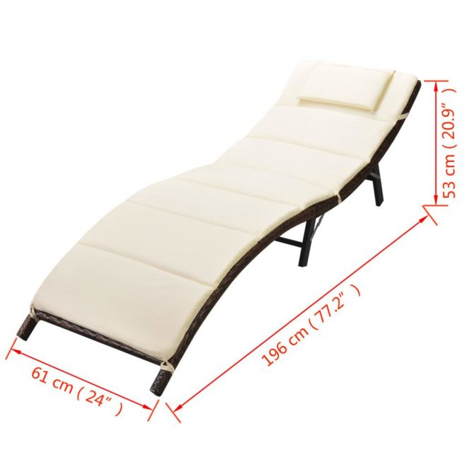 Folding Sun Lounger with Cushion Poly Rattan Brown 9