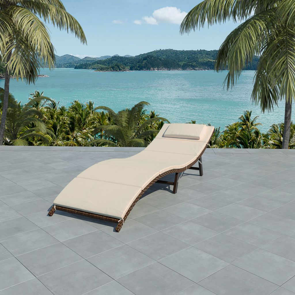 Folding Sun Lounger with Cushion Poly Rattan Brown