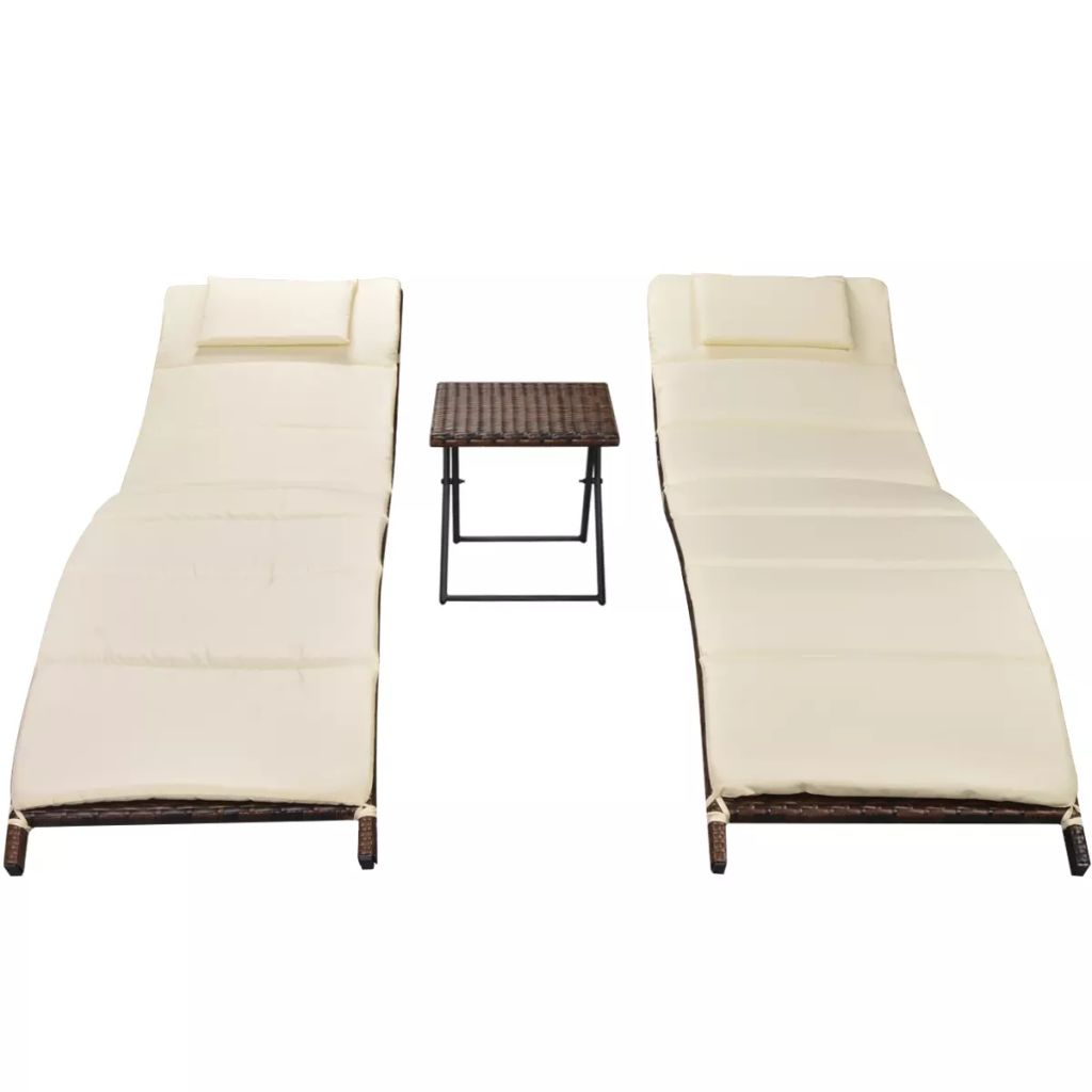 Folding Sun Loungers 2 pcs with Table Poly Rattan Brown 3