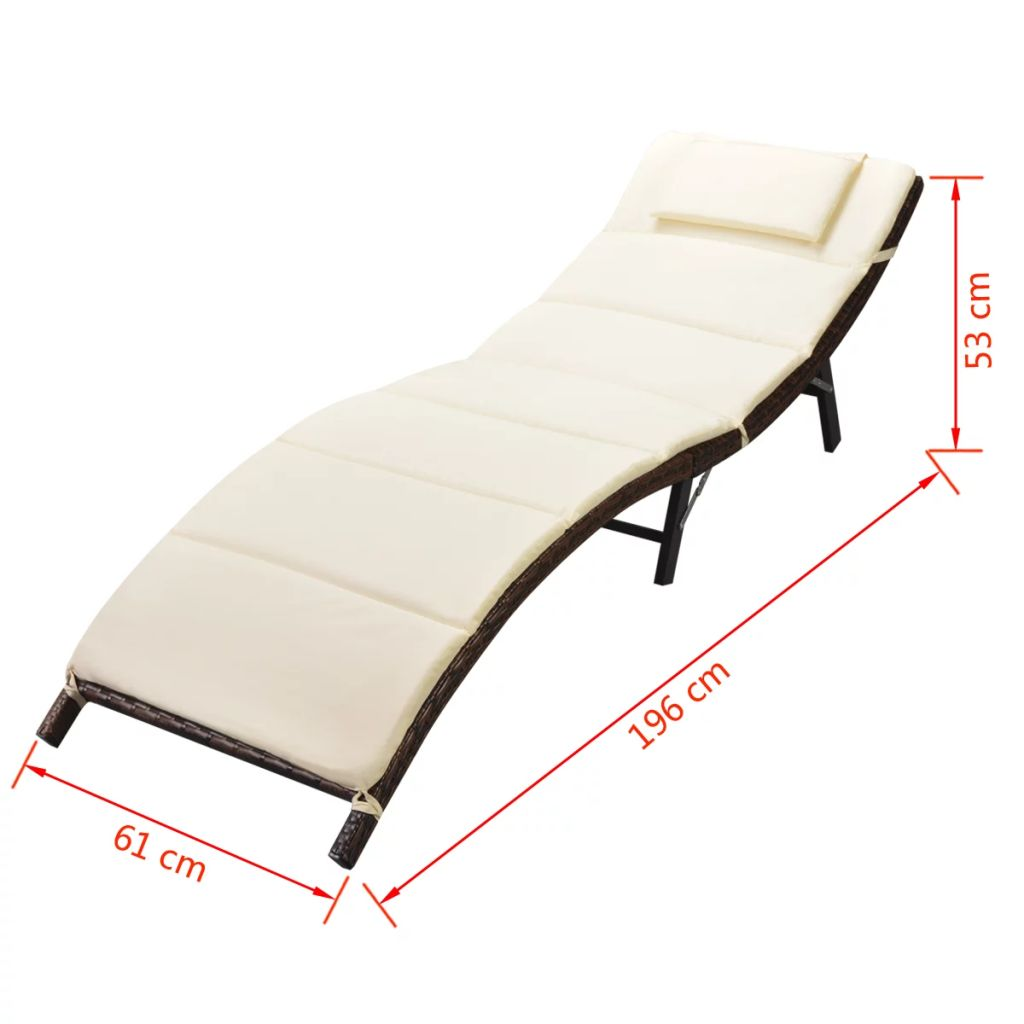 Folding Sun Loungers 2 pcs with Table Poly Rattan Brown 10