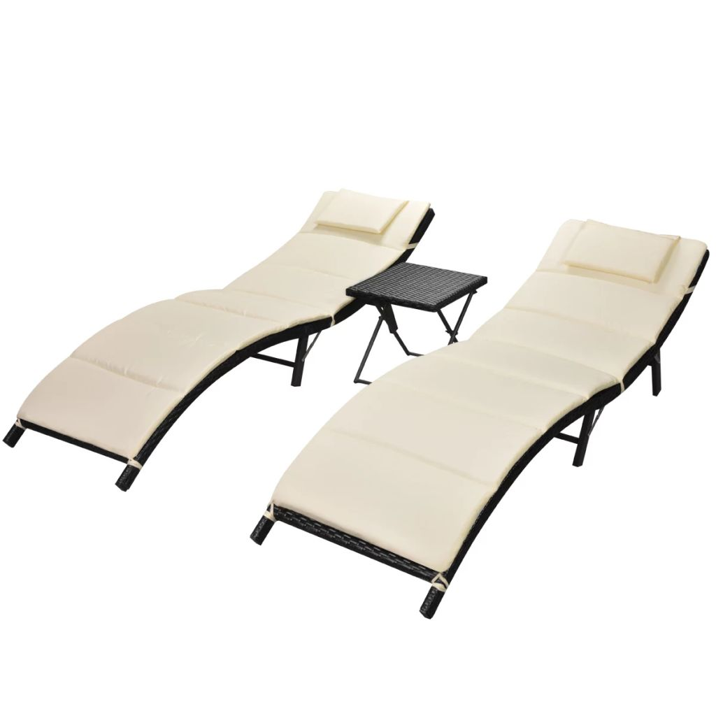 Folding Sun Loungers 2 pcs with Table Poly Rattan Black 2