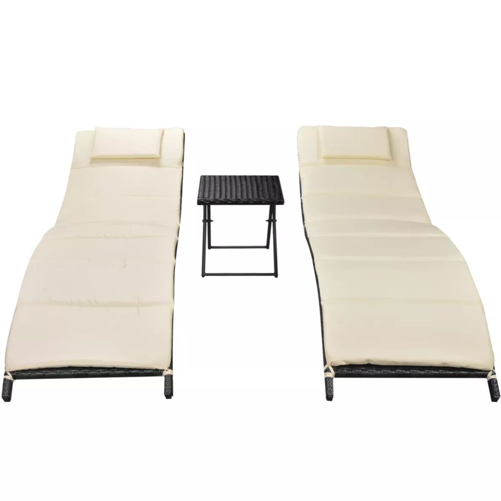 Folding Sun Loungers 2 pcs with Table Poly Rattan Black 3