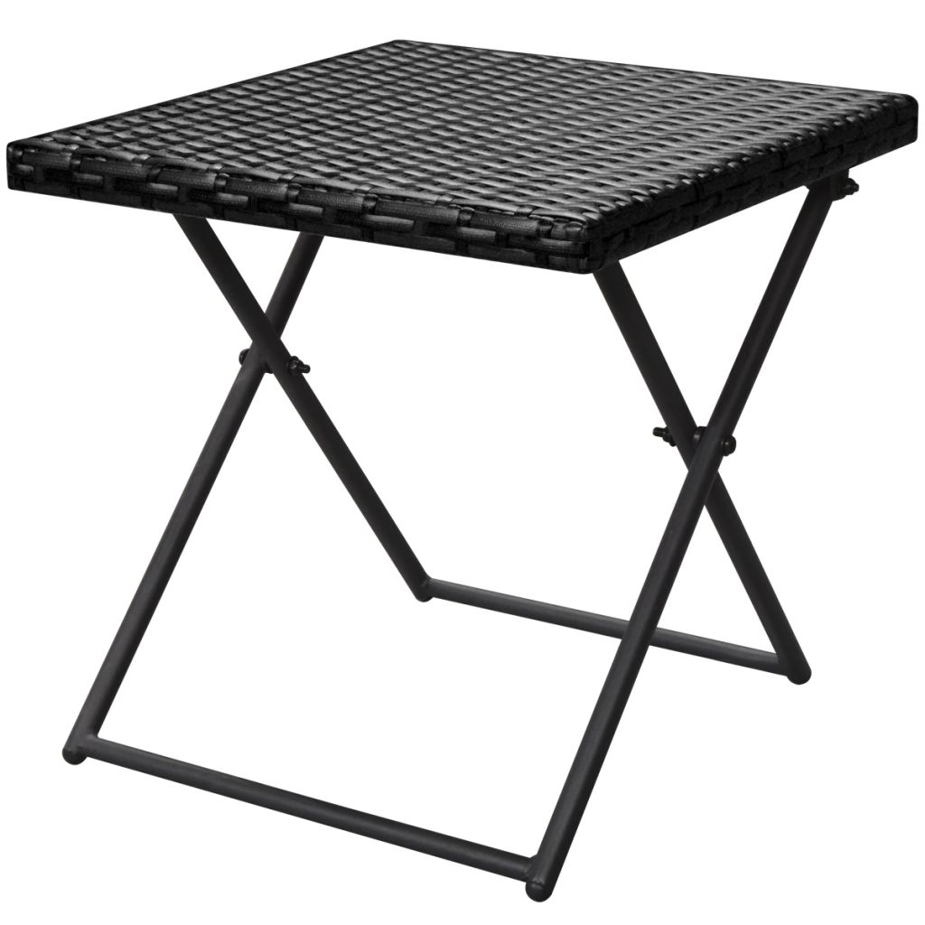 Folding Sun Loungers 2 pcs with Table Poly Rattan Black 8