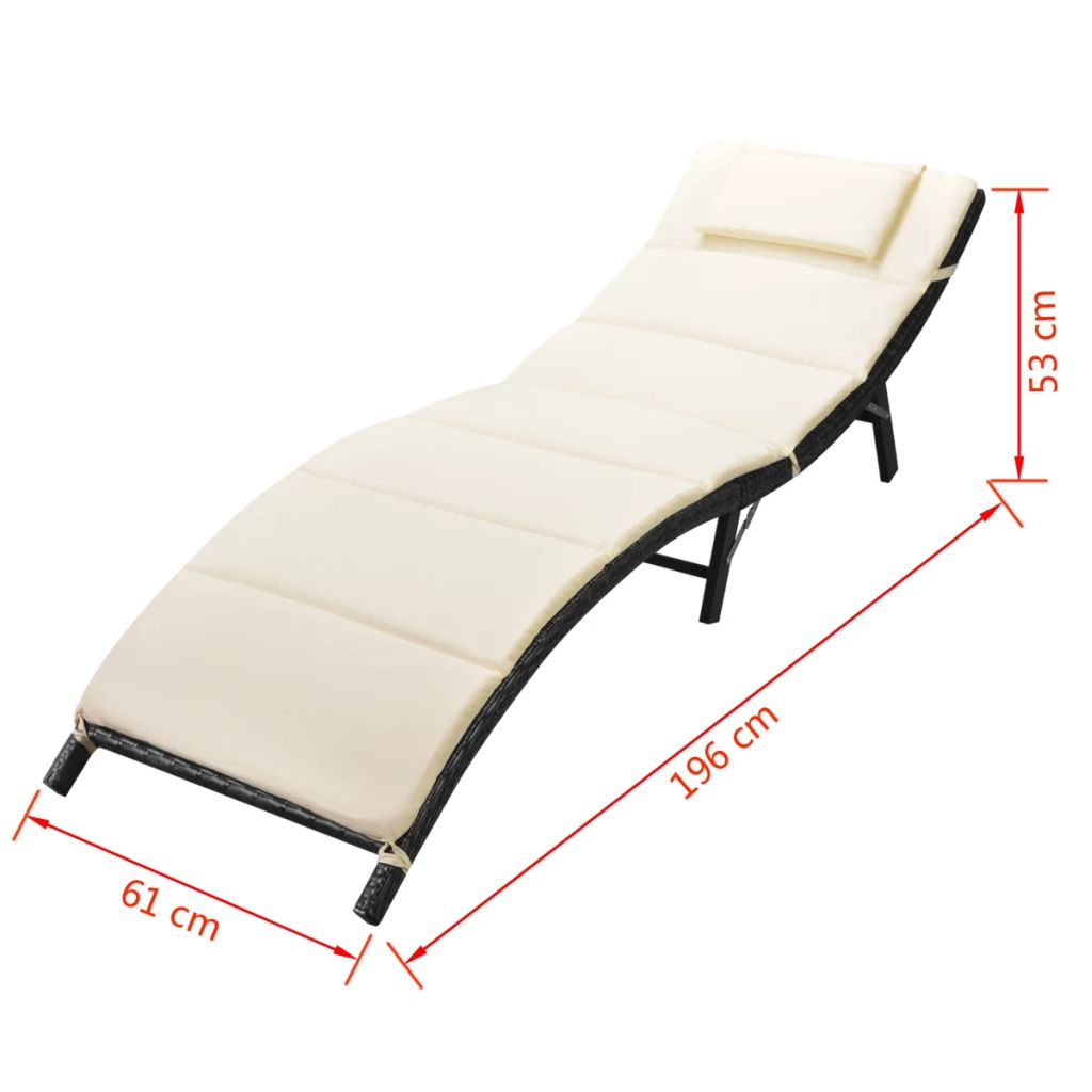 Folding Sun Loungers 2 pcs with Table Poly Rattan Black 10