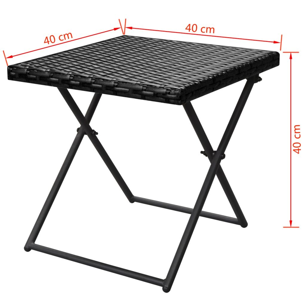 Folding Sun Loungers 2 pcs with Table Poly Rattan Black 11
