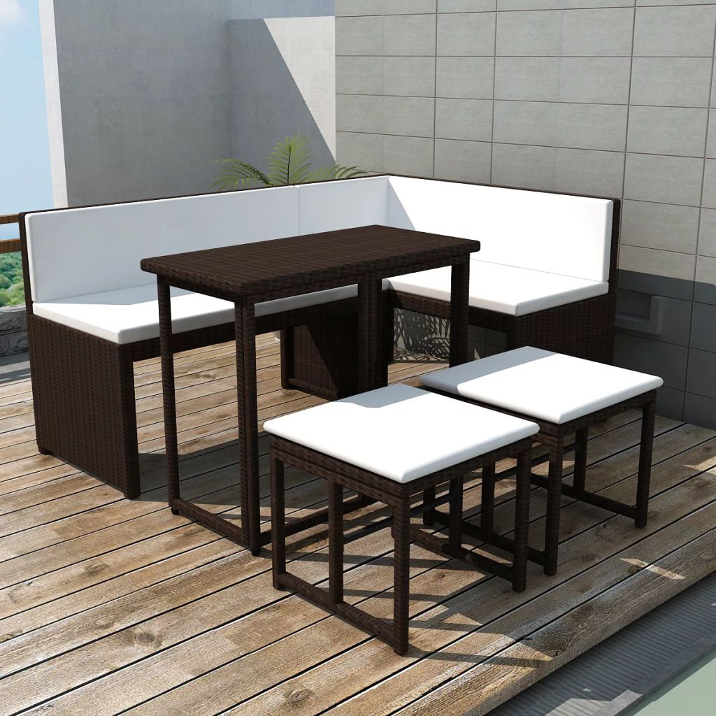 5 Piece Outdoor Dining Set Steel Poly Rattan Brown 1